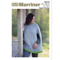 Marriner Traditional Poncho with Contrast Hem in Super Chunky Yarn Knitting Pattern