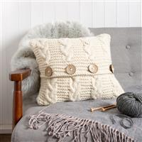 Wool Couture Cream Cable Cushion Knitting Kit