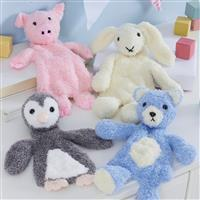Flat Snuggle Toy Collection Kit: Penguin, Rabbit, Bear and Pig