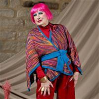WYS Zandra Rhodes Cloud Belted Shawl with Ribbed Borders Yarn Pack