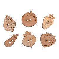 Wooden Buttons Fruit Veg Pack Of 6