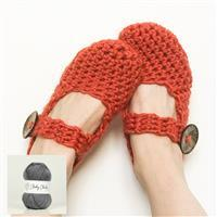 Wool Couture Granite Grey Amy Slippers Kit