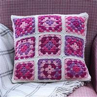 Woolly Chic Summer Pinks Granny Square & Stripe Cushion Kit