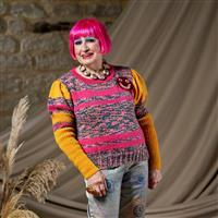 WYS Zandra Rhodes Bridie Striped Jumper with Long Puff Sleeves (28-42in)