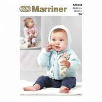 Marriner Lion & Giraffe Baby Hooded Cardigan/Sweater Knitting Pattern