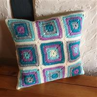 Woolly Chic Purple Rain Granny Square & Stripe Cushion Kit