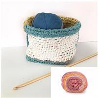Tunisian Crochet Blushing Melon Storage Basket: Yarn and Tunisian Crochet Hook Bundle