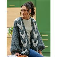 WYS Bohdi Cable Cardigan, Grey Tones Yarn Pack (28-46in)