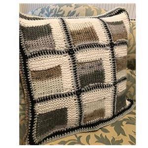Tunisian Crochet Grey Tones Cushion: Yarn and Tunisian Crochet Hook Bundle