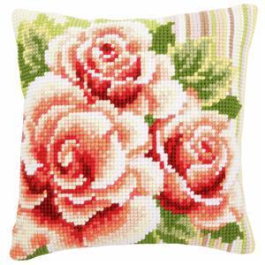 Pink Roses Needlepoint Cushion Kit