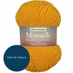 Marriner Gold Mosselle Chenille Style DK 100g: Pack of 3 Balls