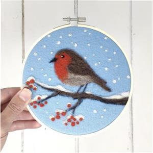 The Crafty Kit Company Robin in a Hoop Needle Felt Kit
