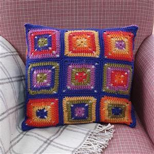 Woolly Chic Technicolour Granny Square & Stripe Cushion Kit