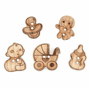 Wooden Buttons Baby Pack Of 5