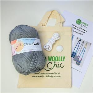 Woolly Chic Grey Small Cross-Body Handbag Knitting Kit