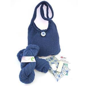 Woolly Chic Denim Blue Shoulder Bag Knitting Kit