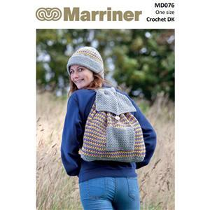 Marriner Navy Crochet Hat and Rucksack Kit