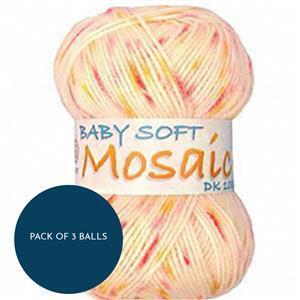 Marriner Peach Melba Baby Soft Mosaic DK Yarn 100g: Pack of 3 Balls