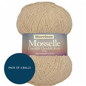 Marriner Sand Mosselle Chenille Style DK 100g: Pack of 3 Balls