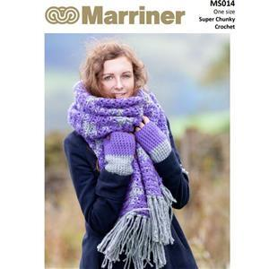 Marriner Violet/Silver Crochet Blanket Scarf and Mitts Kit