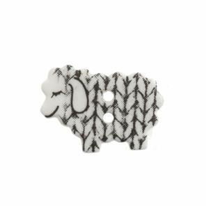 White Knitted Sheep Button - Pack Of Four