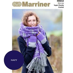 Marriner Seagreen/Navy Crochet Blanket Scarf and Mitts Kit