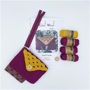 Cool Wool Designs Purple/Mustard Shell Purse Kit