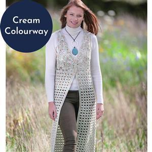 Marriner Cream Variegated Long Crochet Waistcoat Kit