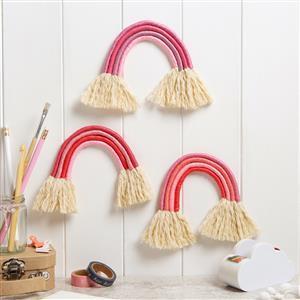 Wool Couture Flamingo Pinks Trio of Rainbows Macramé Kit