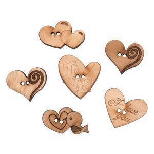 Wooden Buttons Love Pack Of 6
