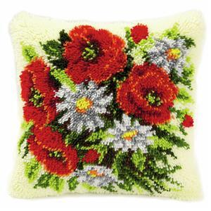 Poppies & Daisies Latch Hook Cushion Kit