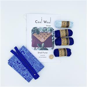 Cool Wool Designs DarkBlue/Light Blue Shell Purse Kit
