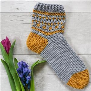 Anna Nikipirowicz Mustard/Silver Totton Crochet Socks