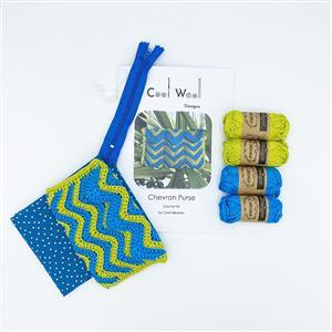 Cool Wool Designs Blue/Green Chevron Purse Kit