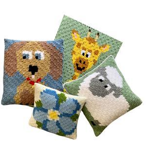 The Crafty Co. Forget-me-not Corner to Corner Crochet Cushion Kit
