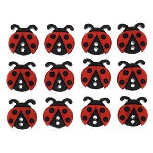 Ladybird Buttons - Pack of 12