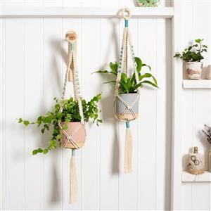 Wool Couture Cream Two Sisters Plant Hangers Macramé Kit