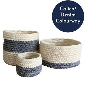 The Crafty Co. Calico/Denim Storage Basket Kit